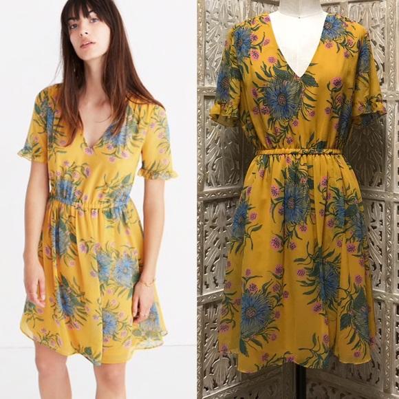 214b20c27d MADEWELL Sweet Grass Ruffle Dress Painted Blooms